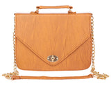Aliado Faux           Leather Embellished Mustard Twist Lock Closure Crossbody Bag