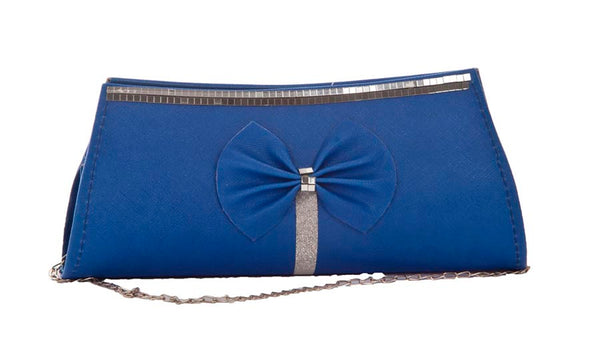 Envie Faux Leather Solid Blue Magnetic Snap Crossbody Sling Bag