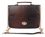 Aliado Faux Leather Brown               and Black Twist Lock Closure Crossbody Bag