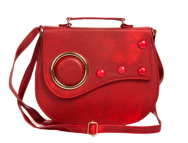 Envie Faux Leather Embellished Magenta Magnetic Snap Crossbody Bag