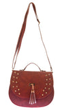 Envie Faux Leather Solid Coffee Brown Magnetic Snap Crossbody Bag