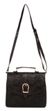 Envie Faux Leather Solid Black Magnetic Snap Sling Bag