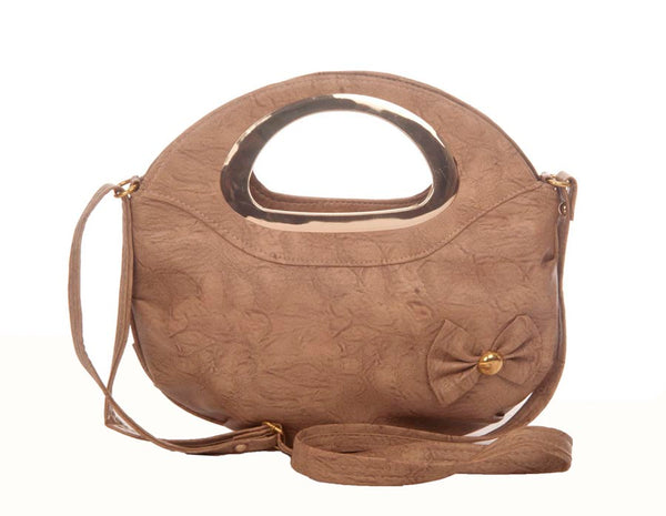 Envie Faux Leather Solid Beige Zipper Closure Crossbody Bag