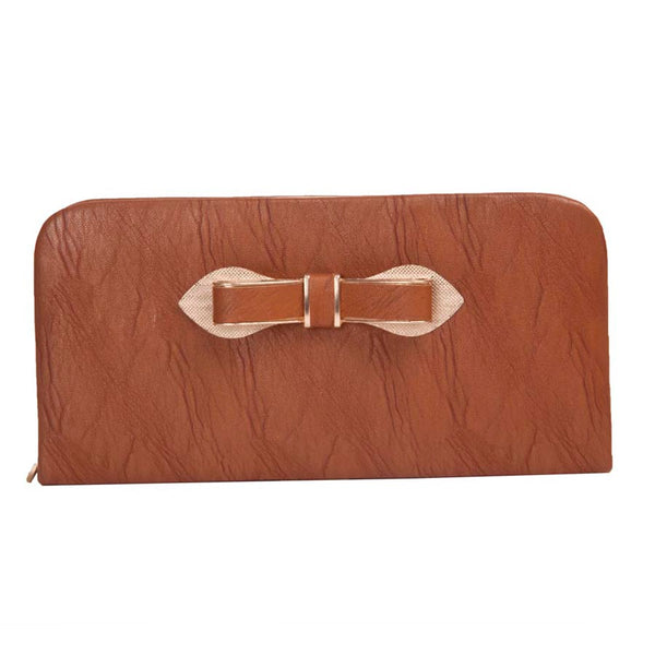 Envie Dark Brown Zipper Closure Clutch