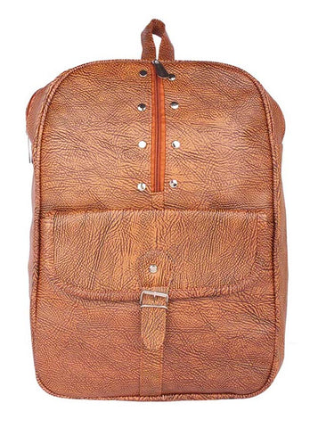 Aliado Faux Leather Brown Coloured Zipper Closure Backpack - 1