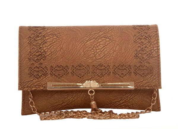 Envie Faux Leather Brown Coloured Magnetic Snap Croc Pattern Sling Bag