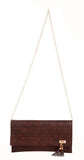 Envie Faux Leather Coffee Brown Laser Cut Magnetic Snap Sling Bag