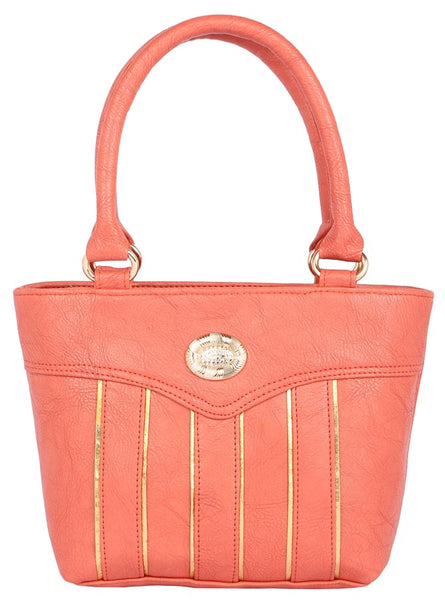 Aliado Faux           Leather Peach Coloured Zipper Closure Handbag
