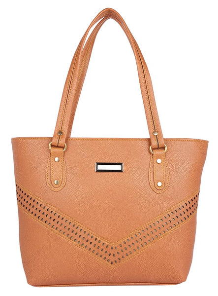 Aliado Faux Leather Brown                   Coloured Zipper Closure Handbag
