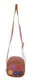 Envie Faux Leather Solid Beige Zipper Crossbody Bag