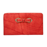 Envie Faux Leather Red Zipper Closure Croc Pattern Clutch for Women