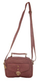 Envie Faux Leather Solid Peach Tuck Lock Closure Sling Bag