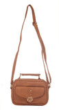 Envie Faux Leather Solid Beige Tuck Lock Closure Stylish Sling Bag