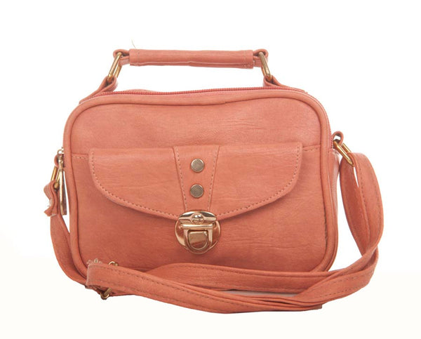 Envie Faux Leather Solid Peach Tuck Lock closure Crossbody Bag