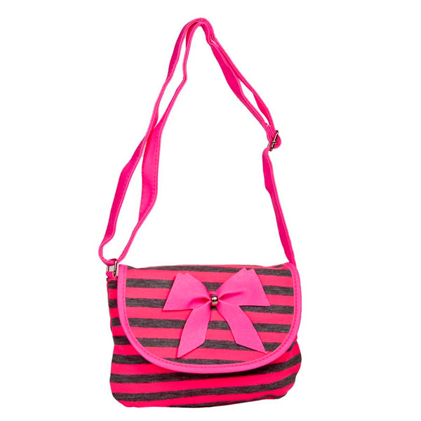 Envie Pink & Grey Striped Pattern Zipper Closure Sling Bag