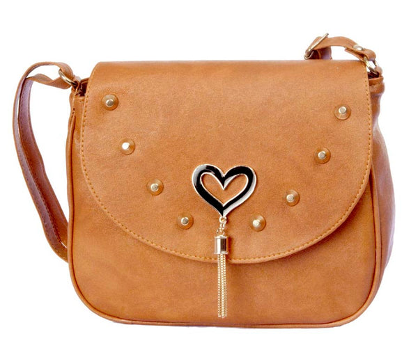 Envie Faux Leather Solid Brown Magnetic Strap Sling Bag