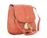 Envie Faux Leather Solid Pink Magnetic Snap Crossbody Bag