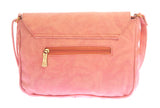 Envie Faux Leather Peach Coloured Magnetic Snap Embellished Sling Bag