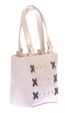 Envie Faux Leather Silver Zipper Closure Embellished Tote Bag
