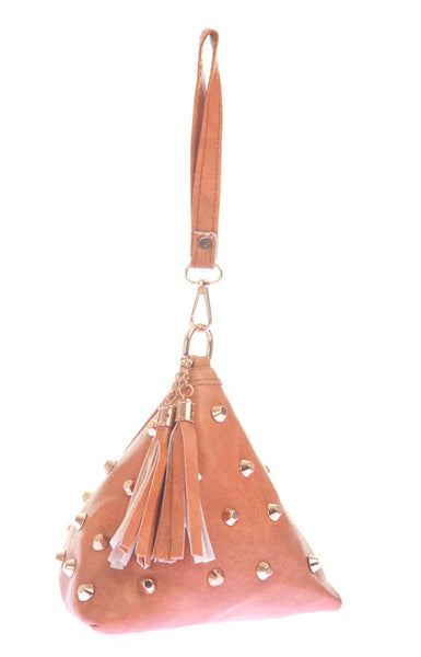 Envie Faux Leather Beige Coloured Embellished Potli Bag