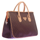 Aliado Faux Leather Printed Coffee Brown & Beige Zipper Closure Handbag