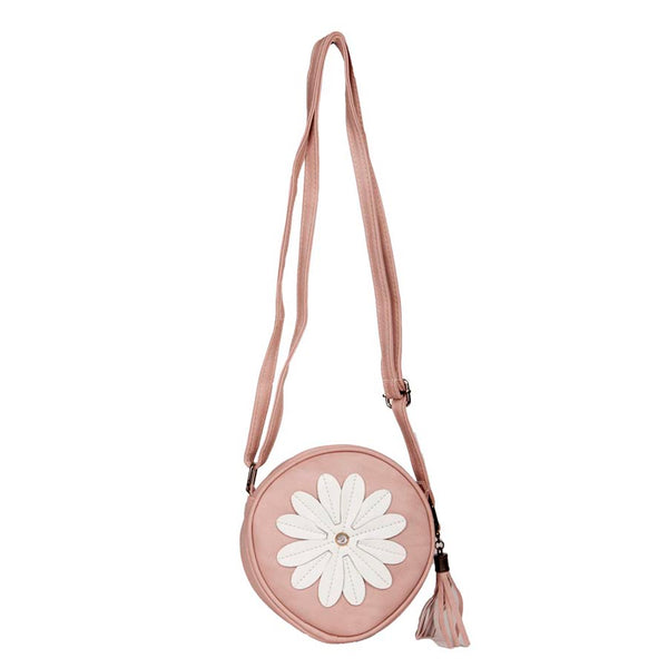 Envie Faux Leather Embellished Peach Coloured Zipper Closure Sling Bag