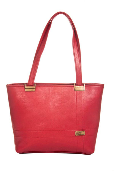 Aliado Faux Leather Solid Pink Zipper Closure Tote Bag