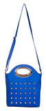 Envie Faux Leather Blue Coloured Zipper Closure Embellished Sling   Bag