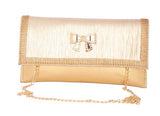 Envie Faux Leather Embellished Golden Magnetic Snap Closure Crossbody Bag - 4