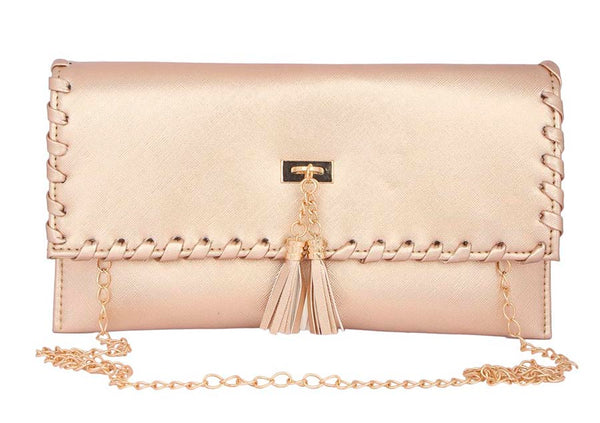 Envie Faux Leather Embellished Peach Magnetic Snap Closure Crossbody Bag - 2