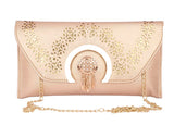 Envie Faux Leather Embellished Peach Magnetic Snap Closure Crossbody Bag - 1