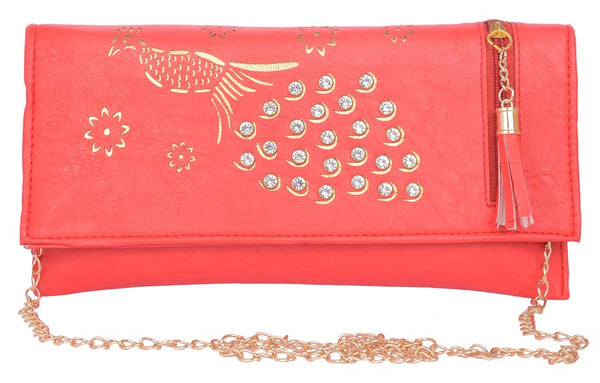 Envie Faux Leather Red Coloured Magnetic Snap Sling Bag - 1