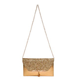 Envie Faux Leather Golden Fold Over Magnetic Snap Sequined Sling Bag for Women