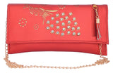 Envie Faux Leather Embellished Red Magnetic Snap Closure Crossbody Bag - 1