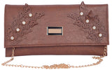 Envie Faux Leather Embellished  Coffee Brown Magnetic Snap Closure Crossbody Bag