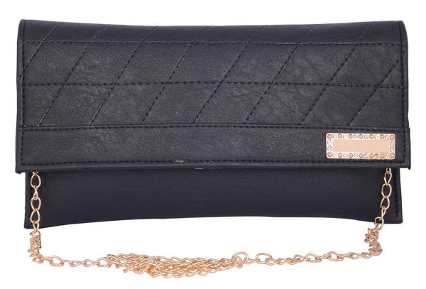 Envie Faux Leather Black Magnetic Snap Closure Crossbody Bag