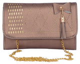 Envie Faux Leather Bronze  Magnetic Snap Closure Sling Bag