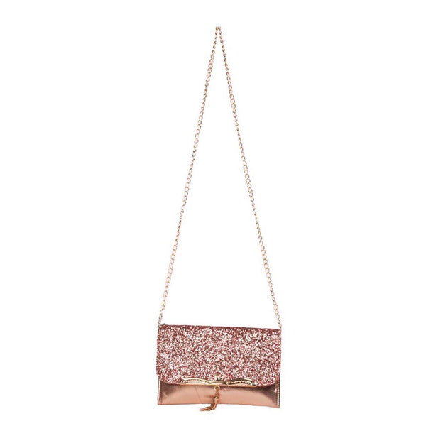 Envie Faux Leather Bronze & Peach Fold Over Magnetic Snap Sequined Sling Bag for Women