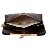 Envie Faux Leather Black Fold Over Magnetic Snap Closure Sequined Sling Bag