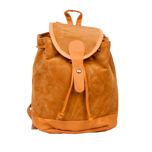 Aliado Velvet Solid Beige  Backpack