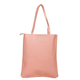 Envie Faux Leather Solid Peach Zipper Closure Casual Tote Bag