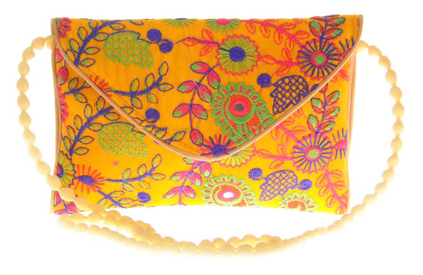 Envie Cloth/Textile/Fabric Embroidered Yellow & Multi Magnetic Snap Sling Bag