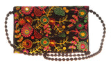 Envie Cloth/Textile/Fabric Embroidered Black & Multi Magnetic Snap Sling Bag