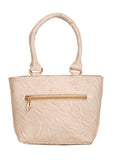 Aliado Faux Leather Solid Cream & Multi Zipper Closure Tote Bag