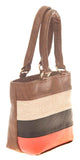 Aliado Faux Leather Solid Coffee Brown & Multi Zipper Closure Tote Bag