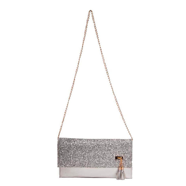 Envie Faux Leather Silver Fold Over Magnetic Snap Sequined Sling Bag - 1