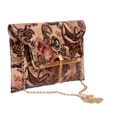 Envie Faux Leather Peach & Brown Fold Over Magnetic Snap Sequined Sling Bag for Women