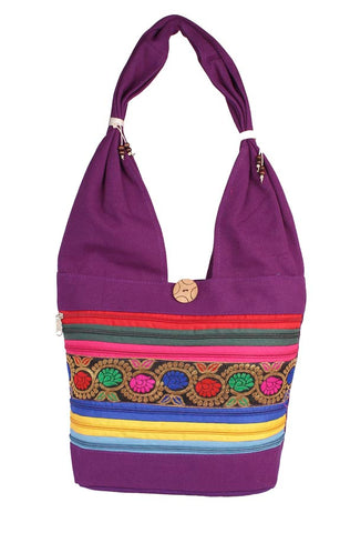 Aliado Cloth Fabric Purple Coloured Zipper Closure Handbag - 2