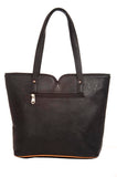 Aliado Faux Leather Solid Black & Brown Zipper Closure Tote Bag