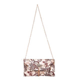 Envie Faux Leather Printed Cream and  Brown Fold Over Magnetic Snap Sling Bag